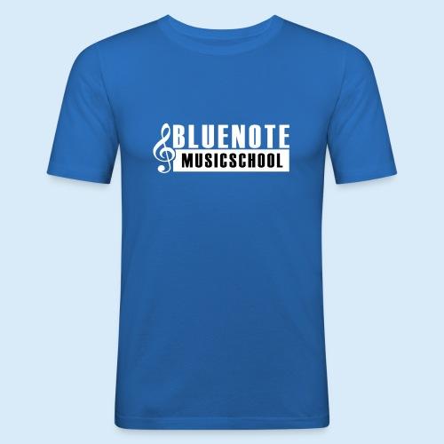 Bluenote Musicschool Logo Weiss/Schwarz - Männer Slim Fit T-Shirt