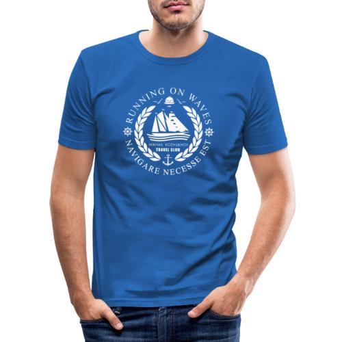 RUNNING ON WAVES (white) - Men's Slim Fit T-Shirt