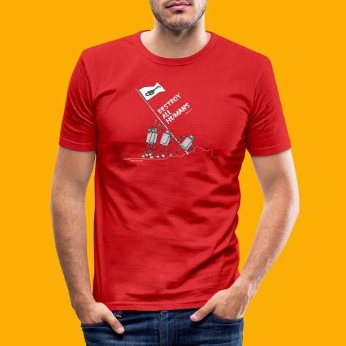 Dat Robot: Destroy War Dark - Mannen slim fit T-shirt