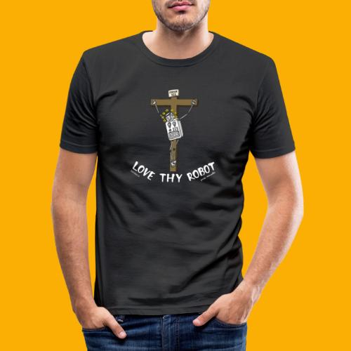 Dat Robot: Love Thy Robot Jesus Dark - Mannen slim fit T-shirt