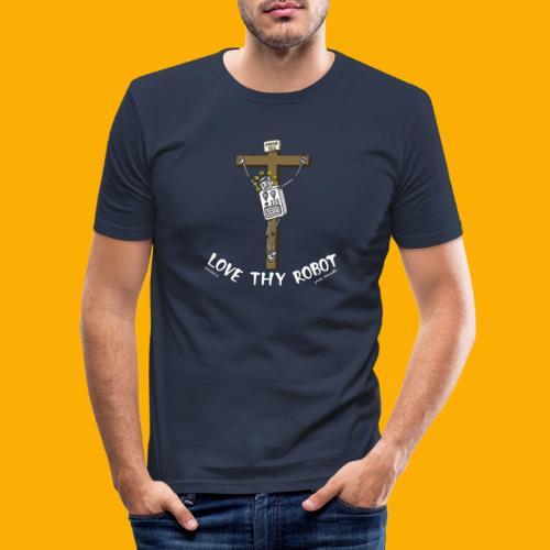 Dat Robot: Love Thy Robot Jesus Dark - Mannen slim fit T-shirt