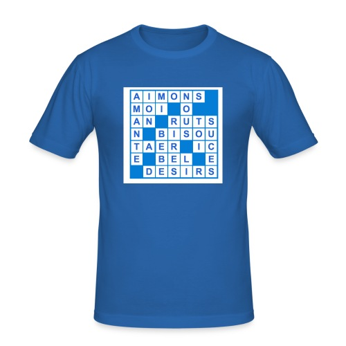 aimons nous mots croisés bleu - T-shirt près du corps Homme
