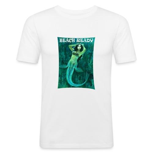 Vintage Pin-up Beach Ready Mermaid - Men's Slim Fit T-Shirt