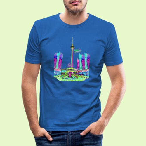 Berlin Alexanderplatz / BerlinLightShow /PopArt - Männer Slim Fit T-Shirt
