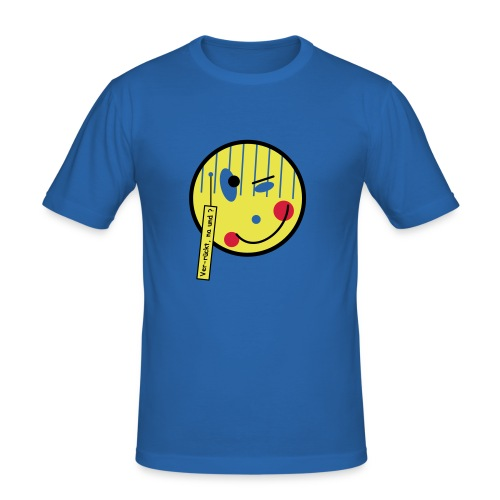 Smile ver rückt Text - Männer Slim Fit T-Shirt