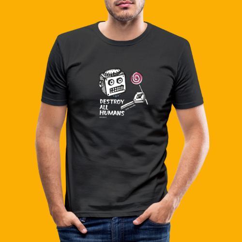 Dat Robot: Destroy Series Candy Dark - Mannen slim fit T-shirt