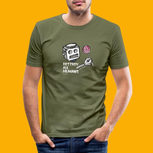 Dat Robot: Destroy Series Candy Dark - Mannen slim fit T-shirt