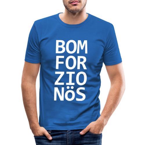 Bomforzionös schwarz vierzeilig - Männer Slim Fit T-Shirt