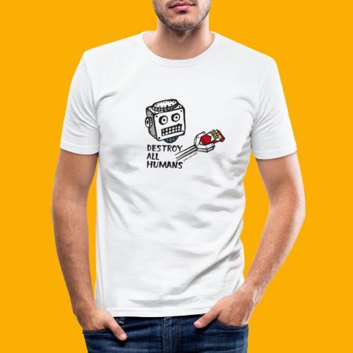 Dat Robot: Destroy Series Smoking Light - Mannen slim fit T-shirt