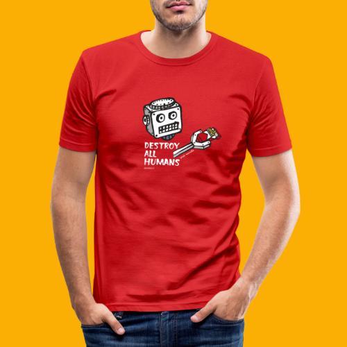 Dat Robot: Destroy Series Smoking Dark - Mannen slim fit T-shirt