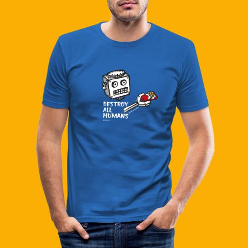 Dat Robot: Destroy Series Smoking Dark - Mannen slim fit T-shirt