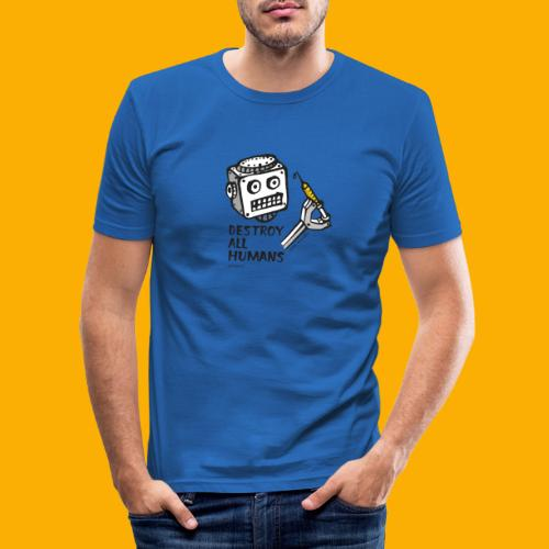 Dat Robot: Destroy Series All Humans Light - Mannen slim fit T-shirt
