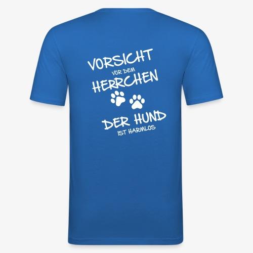 Vorsicht Herrchen - Männer Slim Fit T-Shirt