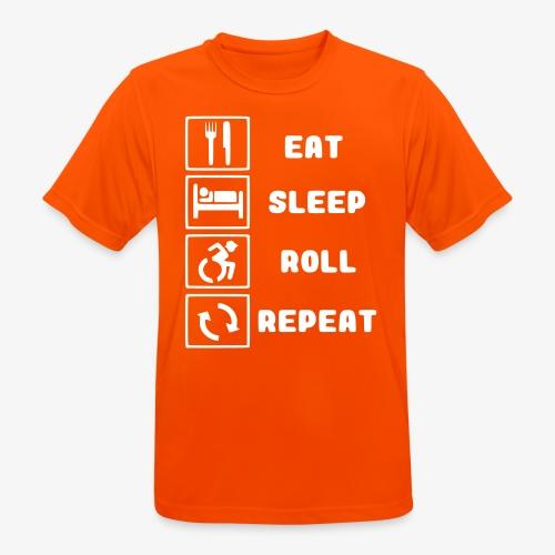 >Eten, slapen, rollen met rolstoel en herhalen 001 - Mannen T-shirt ademend actief