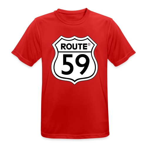 Route 59 zwart wit - mannen T-shirt ademend