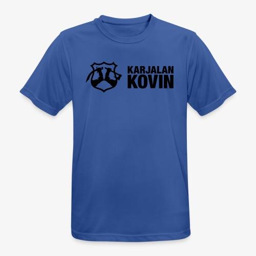 karjalan kovin logo vaaka musta - miesten tekninen t-paita
