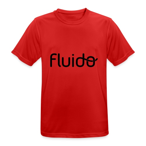 fluidologo_musta - miesten tekninen t-paita