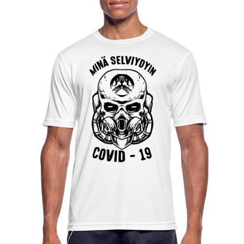 COVID-19, minä selviydyin - miesten tekninen t-paita