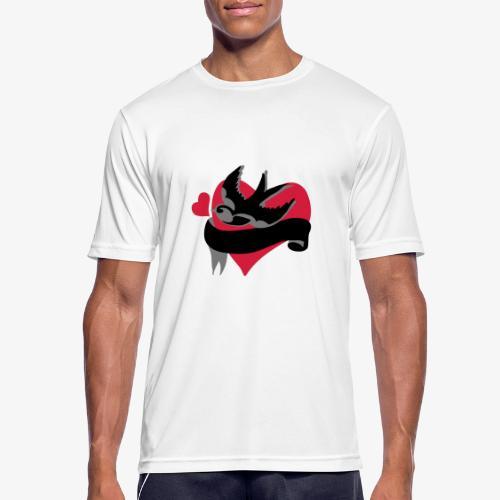 retro tattoo bird with heart - Men's Breathable T-Shirt