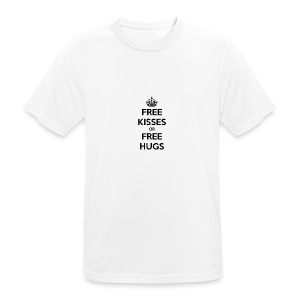 free kisses or free hugs - mannen T-shirt ademend