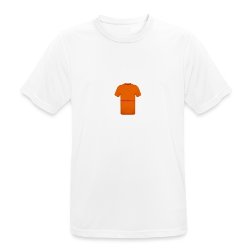 CAMISETA NARANJA CON LETRAS ROJAS-BARRABAJA - Camiseta hombre transpirable