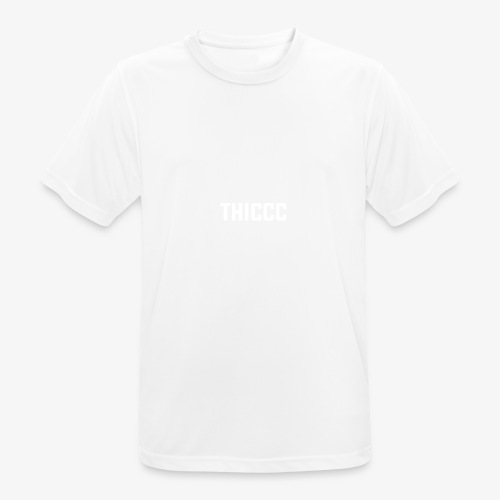 thiccc text logo WHITE - Men's Breathable T-Shirt