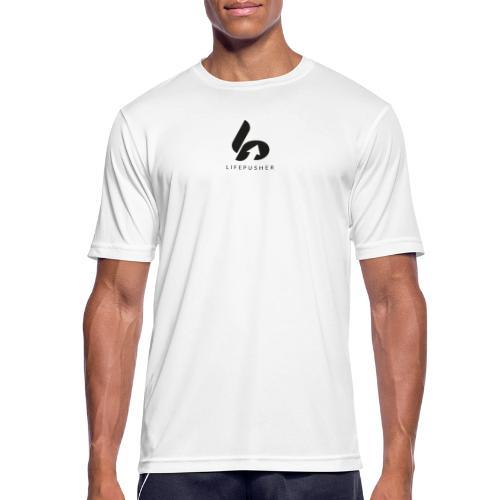 Lifepusher Logo Schwarz mit Text - Männer T-Shirt atmungsaktiv
