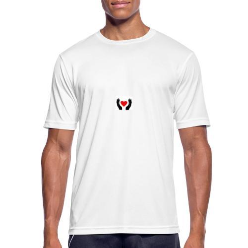 Schwarze Hände die rotes Herz halten - Männer T-Shirt atmungsaktiv