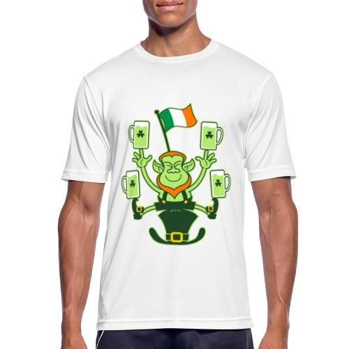 Leprechaun Juggling Beers and Irish Flag - Men's Breathable T-Shirt