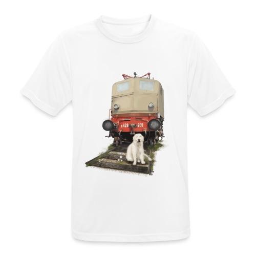 Golden Retriever with Train - Maglietta da uomo traspirante