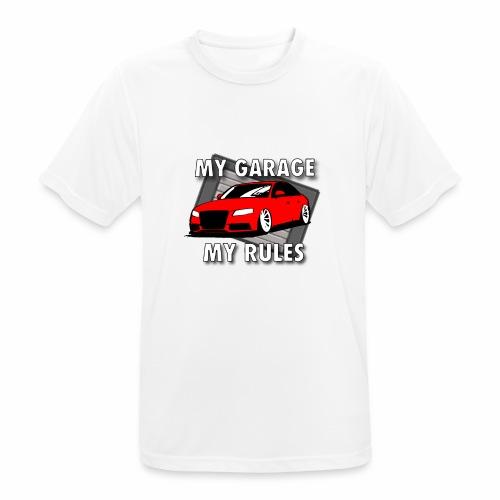 My Garage My Rules roter Sportwagen vor Garage - Männer T-Shirt atmungsaktiv