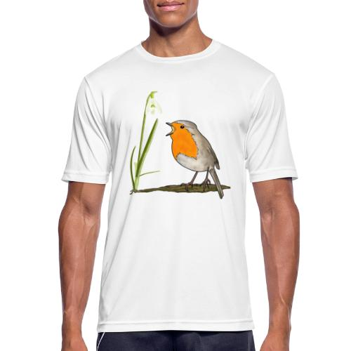 Frühling, Rotkehlchen, Schneeglöckchen - Männer T-Shirt atmungsaktiv