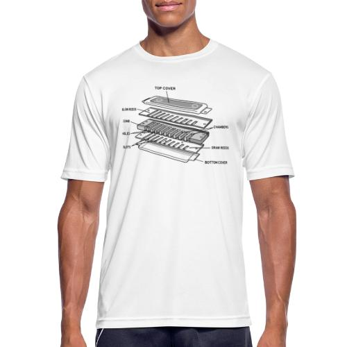 Exploded harmonica - black text - Men's Breathable T-Shirt