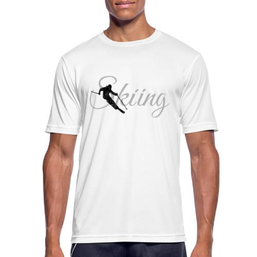 Skiing Skifahrer (Grau) Wintersport Apres-Ski - Männer T-Shirt atmungsaktiv
