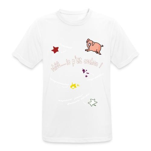 Rhoo le ptit cochon ! (version pour fond sombre) - T-shirt respirant Homme