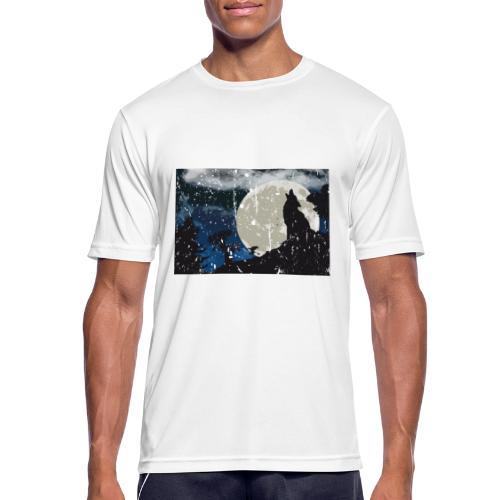 Wolf versus Mond - Männer T-Shirt atmungsaktiv