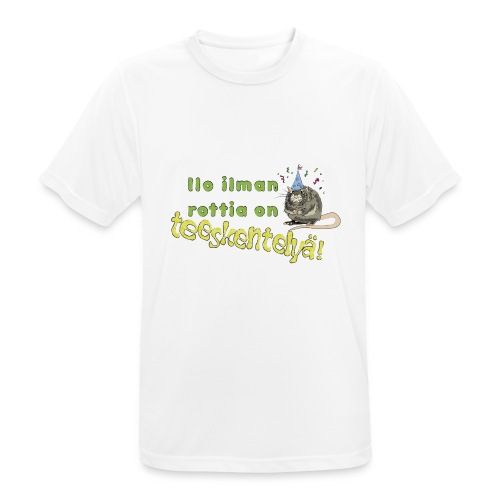 Ilo ilman rottia - kuvallinen - miesten tekninen t-paita