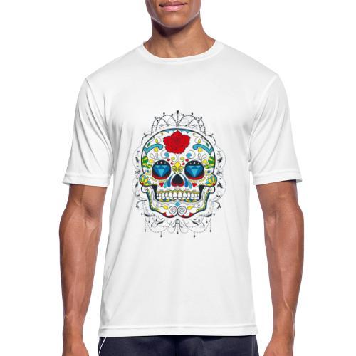 Rose und Diamantschädel - Männer T-Shirt atmungsaktiv