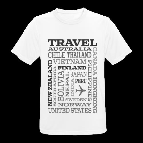 Travel Places Gray design - miesten tekninen t-paita
