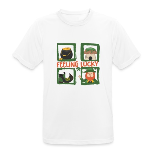 feeling lucky - stay happy - St. Patrick's Day - Men's Breathable T-Shirt
