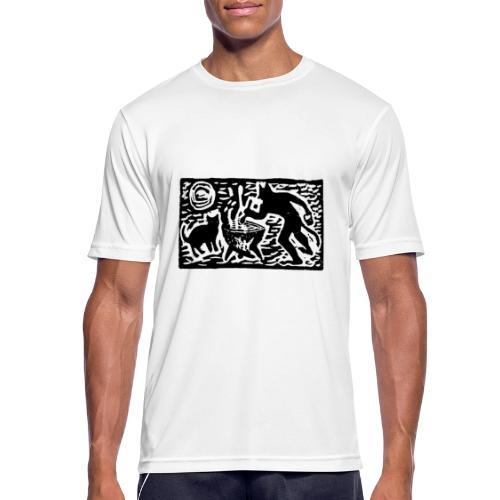 Teufel mit Katze - Männer T-Shirt atmungsaktiv