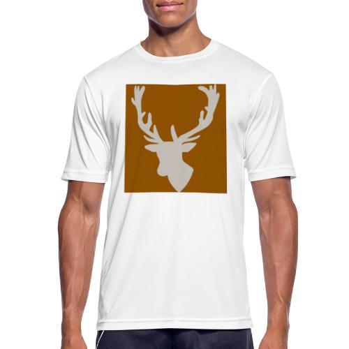 Hirch B BROWN WHITE - Männer T-Shirt atmungsaktiv