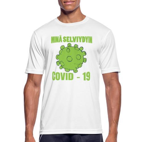 Minä selviydyin - COVID-19 - miesten tekninen t-paita