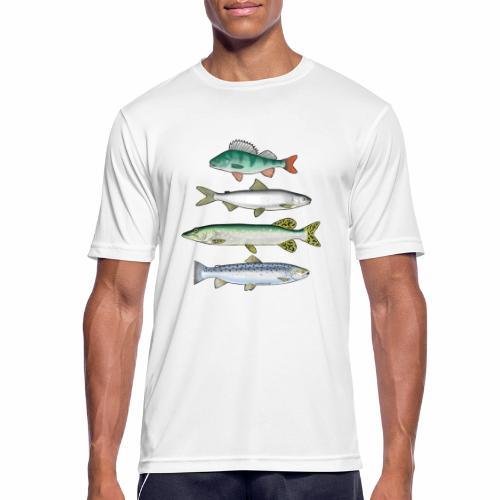 FOUR FISH - Ahven, siika, hauki ja taimen tuotteet - miesten tekninen t-paita