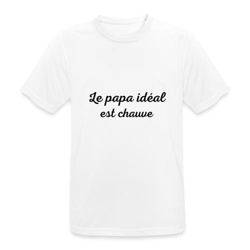 t-shirt fete des pères le papa idéal est chauve - T-shirt respirant Homme