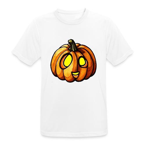 Pumpkin Halloween watercolor scribblesirii - miesten tekninen t-paita