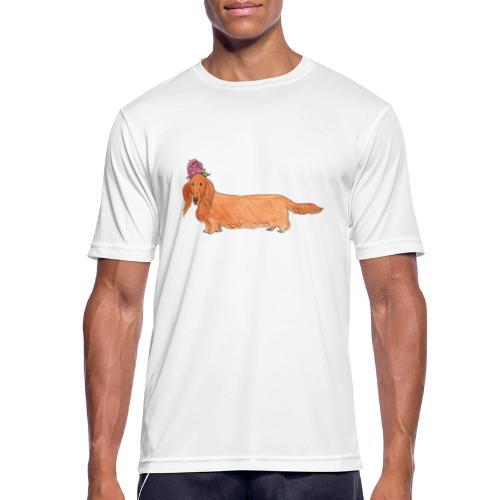 dachshund with flower - Herre T-shirt svedtransporterende