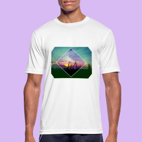 Tramonto in risalto tra figure geometriche - Maglietta da uomo traspirante