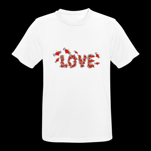 Flying Hearts LOVE - Herre T-shirt svedtransporterende