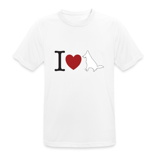 I LOVE White Dog - Koszulka męska oddychająca